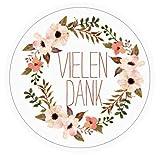 96 VIELEN DANK Aufkleber Sticker zum Danke sagen - Ideal für Geburtstag, Hochzeit, Weihnachten - 3,8 x 3,8 cm - Rosa, Weiß - Blumen