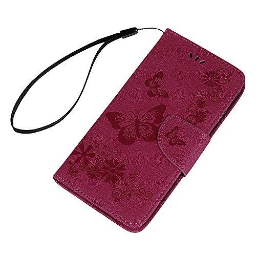 Lanveni Handyhülle für iPhone X,iPhone 10,Flip Case Cover PU Lederhülle Schutzhülle Magnetverschluss Ledertasche mit Stander Function Brieftasche Card Slot Handy Tasche mit Schmetterling Geprägt Desig Rosa rot