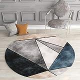 DJkkyl Pelo Corto Lavabile in Lavatrice Tappeto Salotto Tappeto Rotondo Moderno Geometrico Astratto Soggiorno, Divano Studio Morbido Triangolo Grigio Blu,100×100CM