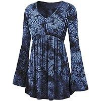 Damenmode Bluse Tops Rosennie Mode V-Ausschnitt Langarm Bluse Langarmshirt Tie-Dye Print Langarm Tops Plissee... preisvergleich bei billige-tabletten.eu