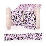 Biais coton large fantaisie fleuri au mètre - Violet, parme et rose - Largeur 25mm