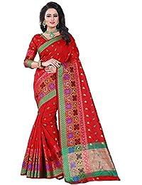 Vatsla Enterprise Women's Banarasi Cotton Silk Saree With Blouse Piece (VSWNRNBLACK009_RED)