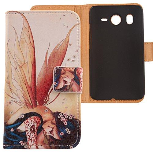 Lankashi PU Flip Leder Tasche Hülle Case Cover Schutz Handy Etui Skin Für HTC Desire HD Wing Girl Design