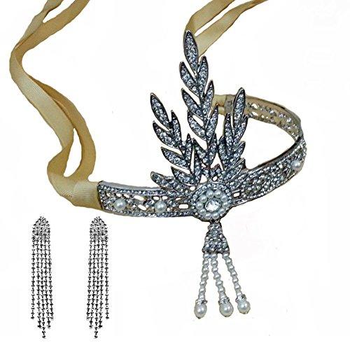Santfe 1920's Great Gatsby Vintage Style Pearl Crown Charleston Brautschmuck Haarband Kopfbedeckung + Ohrring