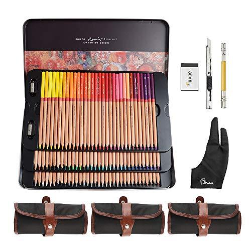 Lightwish - 100 Count Premium Ausgeprägte Farbstifte für erwachsene Malbücher - Vorgeschärft - Farbige Zahl auf Bleistiften (100 Farben, mit Bleistifttasche)