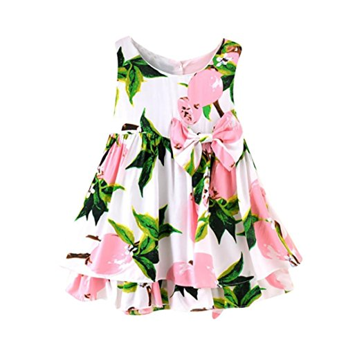 (Kinder Kinder Mädchen Zitrone Cartoon Print Bowknot Lässige Prinzessin Kleid Kleidung)