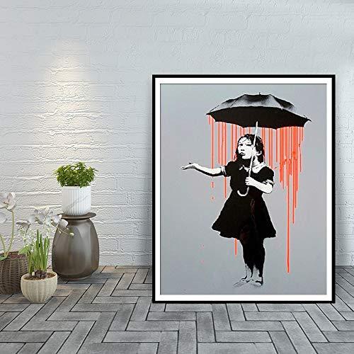 60x90cm No Cornice Ragazza Ombrello Tela Pittura Stampa Soggiorno Decorazioni per la casa Moderna Arte della Parete Pittura a Olio Pittura Arte della Parete Post
