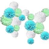 18PCS Papier Pompoms Hochzeit Party Geburtstag Dekoration White+Mint Green+Light Blue