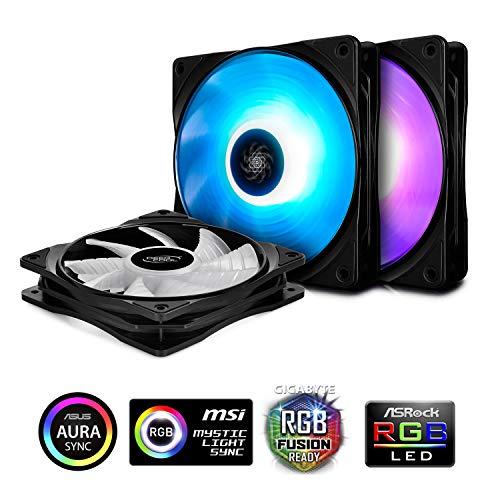 DEEPCOOL RF120 3-in-1 RGB LED PWM Lüfter mit Hub und Erweiterung, kompatibel mit ASUS Aura Sync, 3 x 120 mm (4-polig-computer Desktop-fan)
