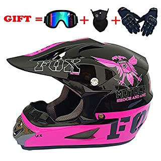 Fashion Eagle Motocross Helm, Herren und Damen Four Seasons Mountainbike Motorradfahrer Cross Country Integralhelm, DOT zertifizierter Helm (4 Stück) Pink Plus Schwarz,L:58~59cm