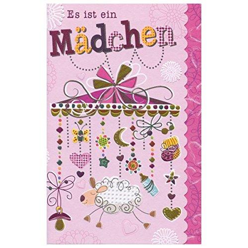 """Susy Card 40009841 Grußkarte zur Geburt/ Mädchen \""""Mobile\"""", Maße: 17 x 11 x 0, 1 cm"""