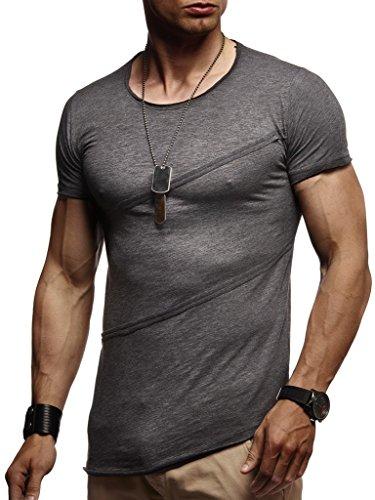 LEIF NELSON Herren T-Shirt Tiefer Rundkragen | Kurzarm-Shirt Slim Fit | Männer T-Shirt lang Rundhals Ausschnitt | 100% Baumwolle | 04251510208929