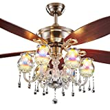 Oliwia Lampadario di illuminazione Ventilatore da soffitto in vetro colorato Ventilatore da soffitto antico semplice moderno