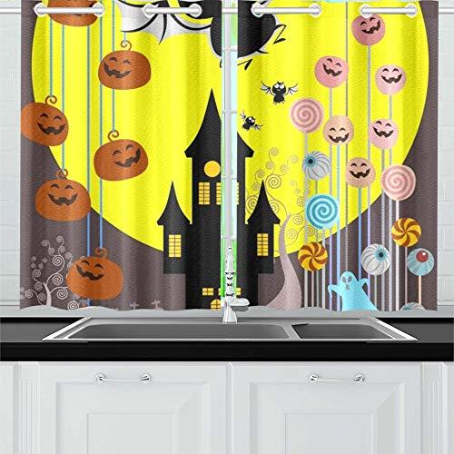 üßigkeiten Eimer Trick Treat Konzept Küchenvorhänge Fenster Vorhangebenen für Café, Bad, Wäscherei, Wohnzimmer Schlafzimmer 26 X 39 Zoll 2 Stück ()