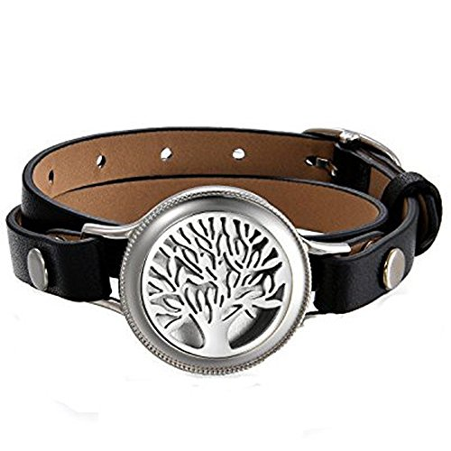 JewelryWe Unisex Aromatherapie Armband, Baum des Lebens Aroma Öl Diffuser Duft Diffusor Medaillon Armband Armreif mit 8 farbigen-Filzkreisen, Edelstahl Leder, Schwarz Silber