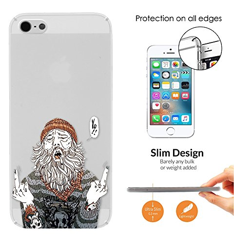c01414 - HOBO Middle Fingers FCK Fuck You Design iphone SE 2016 / iphone 5 5S Fashion Trend Leichtgewicht Hülle Ultra Slim 0.3MM Kunststoff Kanten und Rückseite Protection Hülle - Clear (Floral-design-hobo)
