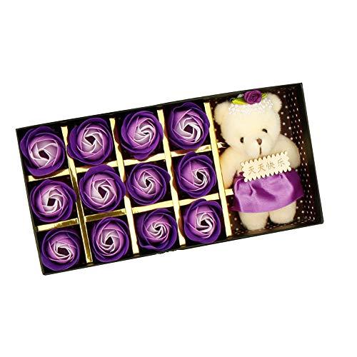 Seifenblume 12 STÜCKE Romantische Rose Seife Blume geschenkbox mit Plüschtier Spielzeug Bär Puppe Küche Haushalt Wohnen Bastel Malen Nähen Blumengestecke -
