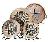 Schamanentrommel peint ø 30 cm indien plumes shaman drum avec maillet