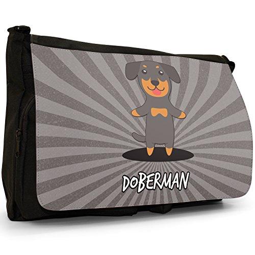 Tedesco Cartoon cani grande borsa a tracolla Messenger Tela Nera, scuola/Borsa Per Laptop Doberman, Dobie, Dobynm