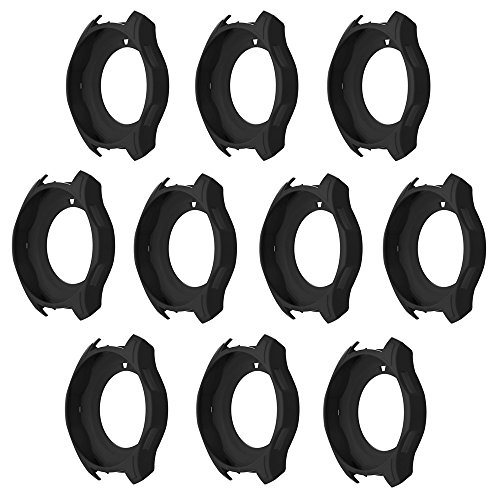 WOB Schutzhülle für Samsung Gear S3 Frontier,Schwarz/Mehrfarbig Knopfposition öffnen Vollständig fit Mode Ersatz-Soft-Hülle mit aus Silikon Schutzhülle (Schwarz(10 Pcs)) -