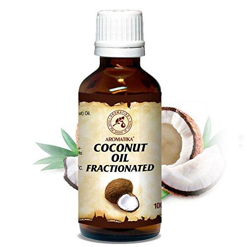 Kokosöl fraktioniert, 100 % reines und natürliches, 100 ml Glasflasche, Basisöl, Intensive Pflege für Gesicht, Körper, Haut, Haare, Nägel, Hände, Lippen, gut mit ätherischem Öl, Coconut Öl für Schönheit, Aromatherapie, Massageöl, Wellness, Kosmetik, Körperpflege, Entspannung, Fraktioniertes Kokosöl von AROMATIKA
