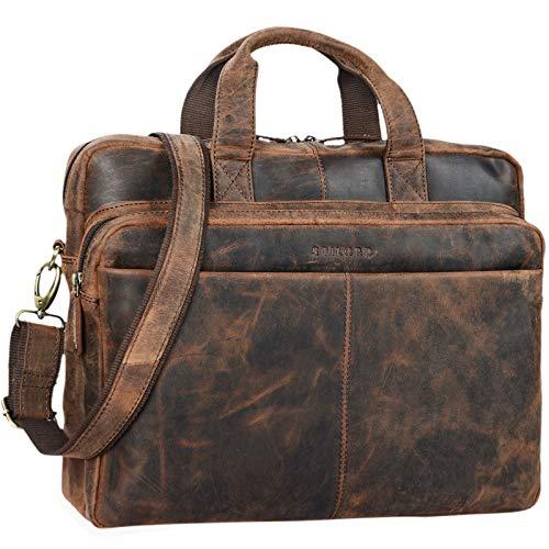 STILORD \'Verus\' Vintage Ledertasche groß Aktentasche Laptoptasche Umhängetasche mit Reißverschluss und abnehmbaren Schultergurt Lehrertasche Leder, Farbe:Sepia - braun