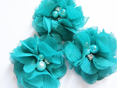 YYCRAFT 20 Stück Chiffon Blumen mit Strass und Perlen Hochzeit Dekoration/Haar Accessoire Handwerk/Nähen Craft(Jade,5cm) (Jade Haar-stück)