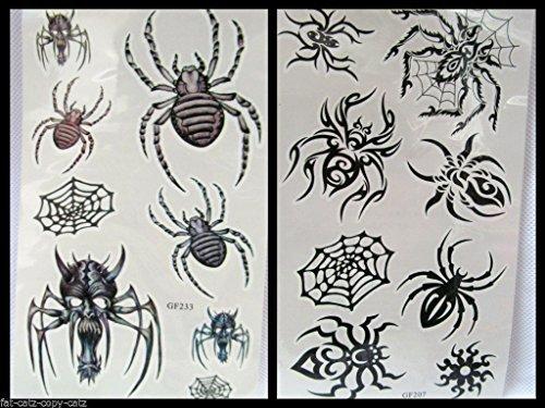2x Sheets Unheimlich Spinnen Halloween Herren Jungen Mädchen Schwarz Spinnennetz Temporäre Tätowierung Partys Geschenktüten - von Fett-Catz-Kopie-Catz (Halloween-spinnennetze Uk)