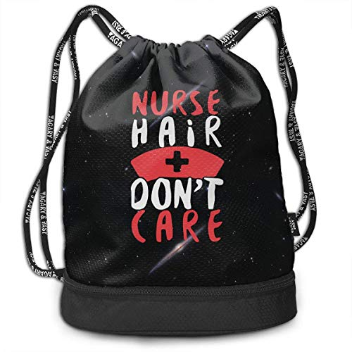 htrewtregregre Kordelzug Paket Nurse Hair Don't Care Drawstring Bag for Mens and Womens, 100% Polyester Athletic Backpack - Hair Care-pakete