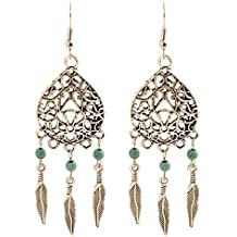 geralin Gioielli–Pendientes atrapasueños turquesa plata indios pendientes vintage