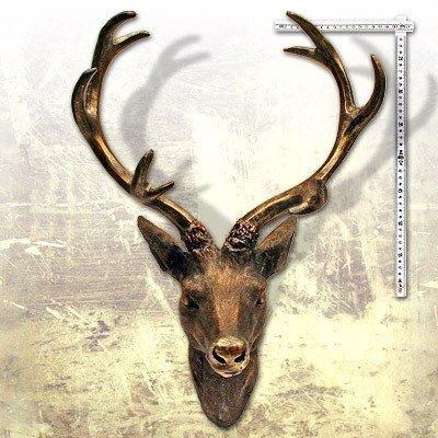 '–Deer Antler Deer Head Bronze-Look 51x 60cm