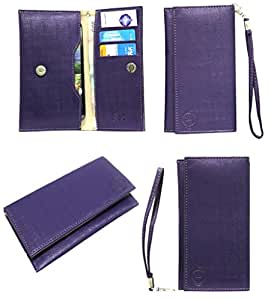 Jo Jo A5 D4 Leather Wallet Universal Pouch Cover Case For Samsung Wave 575 Purple