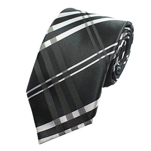 Z-P Mens Black Luxury Elegant Necktie Knit Woven Jacquard Tie (Schwarz Shirt Woven Plaid)