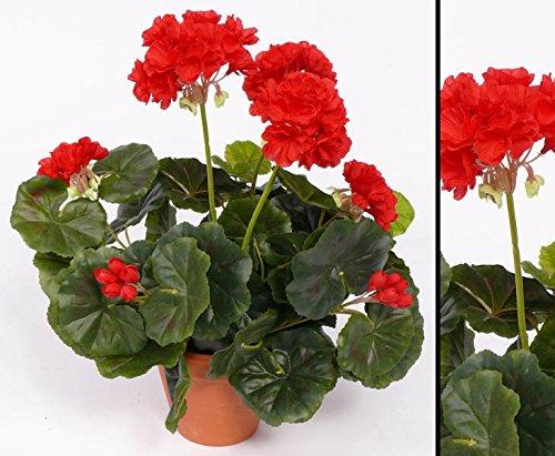 Geranien, Kunstblumen rot mit Blätter, Höhe ca. 30cm, ohne Topf – Kunstgeranien Dekogeranien