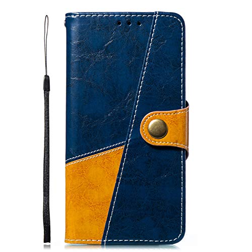 Uposao Handyhülle für Huawei Y7 2018 Ledertasche Handytasche Leder Handyhülle Case Cover Ultradünn Book Lederhülle Wallet Klapphülle Flip Case Silikon Backcover Ständer,Braun Blau