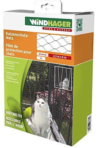 Windhager Katzenschutz-Netz Katzennetz für Balkon Terrasse und Fenster, Robustes HDPE-Gewebe, 2,5 x 6 m, schwarz, 06776