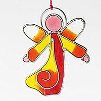 Fensterdeko Engel klein aus Resin rot und gelb | Fenster Deko zum Aufhängen | Regenbogenkristall | Sonnenfänger | Engel Deko | Fensterschmuck Sommer