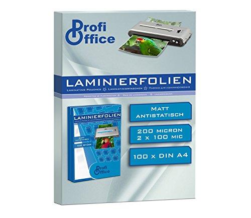 Preisvergleich Produktbild ProfiOffice Laminierfolien, matt, DIN A4, 2 x 100 Mikron, 100 Stück (19907)