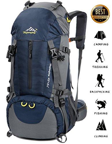 Imagen de 45l+5l  de senderismo impermeable con cubierta lluvia paquete del alpinismo escalada trekking camping deporte al aire libre azul oscuro, l
