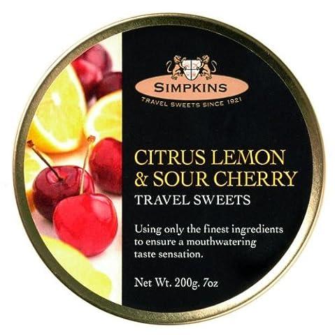 Simpkins Citrus Lemon & Sour Cherry Travel Sweets 200g Tin by Simpkins