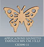 Confezione 50 pezzi, Bomboniera applicazione FARFALLA, legnetto, dimensione cm 2.5X3, PER segnaposto, composizione confetti. (ck5090-11)