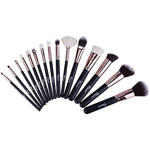 Ovonni MT032 - Brocha Maquillaje Profesional 15Pcs Cepillo Cosmético con Rodillo Negro Superior Herramientas Maquillaje Kit Conjunto (Rosa