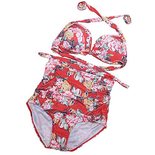 Waroom 2018 Vintage Geraffte 50er Jahre Damen hoch taillierte Badeanzug - Solide Geraffte Halter Bow Bikini Zwei Stück - Retro Wellen Punkte der Frauen Konservative Split Bademode (L, rot)