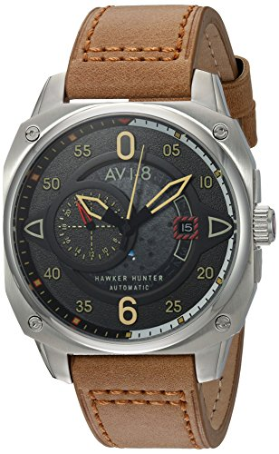 AVI-8 Men's 'Hawker Hunter' Japanese Automatic Stainless Steel and Leather Aviator Watch, Color Brown (Model: AV-4043-01)