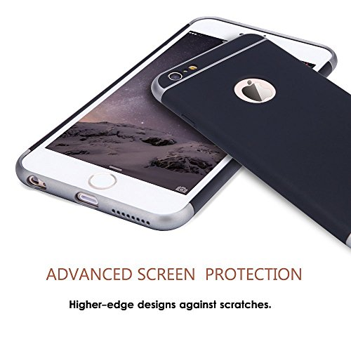 iPhone 6 Case,3 In 1 Ultra Thin and Slim Hard Case Coated Non Slip Matte Surface with Frame for Apple iPhone 6 (4.7'')(2014) and iPhone 6S (4.7'') - Silver Black