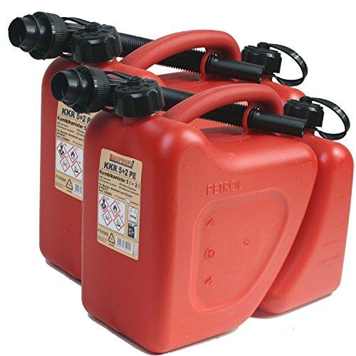 2er Set: 2x Kombikanister KKR 5+2 PE 5 Liter + 2 Liter rot Doppelkanister