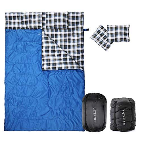 Horing sacco a pelo doppio in flanella di cotone, impermeabile, per esterni, con 2 cuscini e sacca di compressione, sacco a pelo per adulti e bambini, attrezzatura da campeggio, viaggio