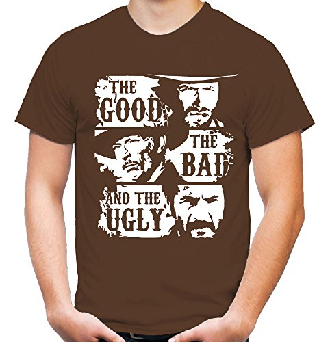 The Good The Bad and The Ugly Männer und Herren T-Shirt | Clint Eastwood Western Kostüm Kult (XL, Braun)