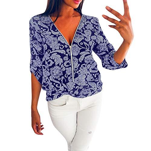 JUSTSELL ▾ Top-Damen Karierter Reißverschluss Mit V-Ausschnitt Und Langen Ärmeln Ethnische Windjacke Mit Kapuze Blumendruck Elegantes Retro T-Shirt