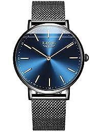 bd57602df822 LIGE Classic Stainless Steel Black Mesh Strap Minimalistic Design Slim Blue  Dial Wristwatch for Men -